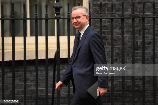 Chancellor of the Duchy of Lancaster Michael Gove arrives during the cabinet reshuffle at 10 Downing Street on February 13, 2020 in London, England....