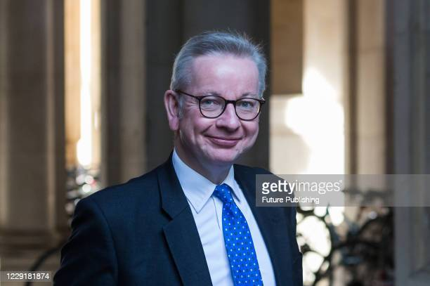 Chancellor of the Duchy of Lancaster Michael Gove returns to Downing Street in central London after attending weekly Cabinet meeting at the Foreign...