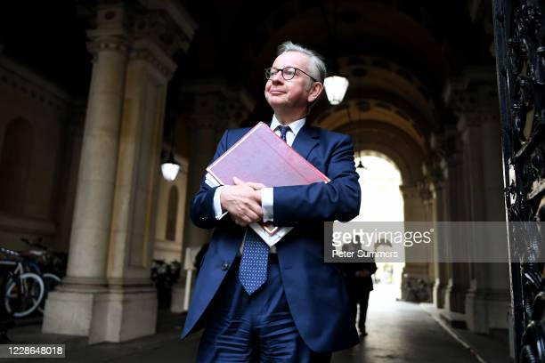 Chancellor of the Duchy of Lancaster Michael Gove walks to Downing Street after attending a cabinet meeting at the FCO on September 22, 2020 in...
