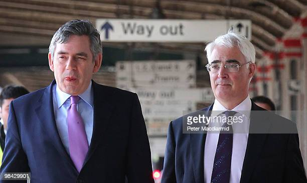 Chancellor of the Exchequer Alistair Darling and Prime Minister Gordon Brown walk to a train on April 13 2010 in Nottingham EnglandThe General...