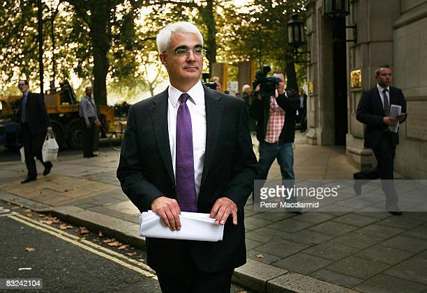 Chancellor of the Exchequer Alistair Darling leaves television studios in Westminster on October 13 2008 in London England The British government...