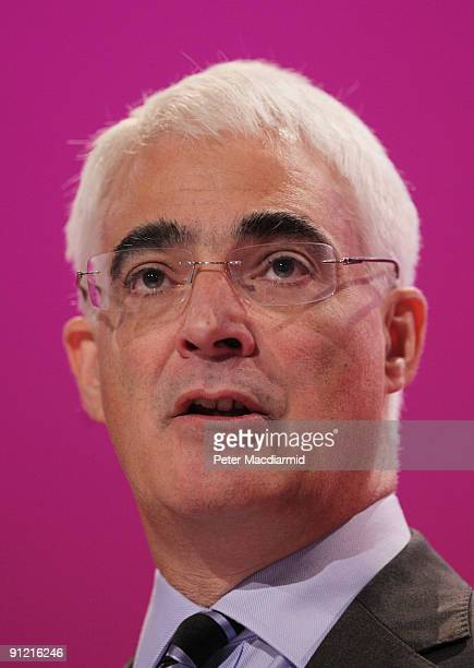 Chancellor of the Exchequer Alistair Darling speaks at The Labour Party Conference on September 28 2009 in Brighton England The Chancellor said that...