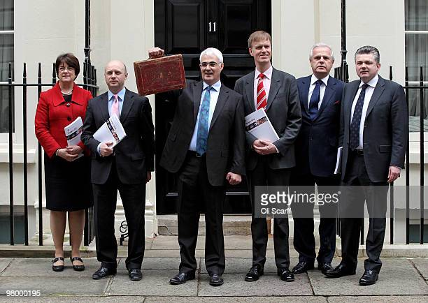 Chancellor of the Exchequer Alistair Darling stands with his treasury team Exchequer Secretary Sarah McCarthyFry Chief Secretary to the Treasury Liam...