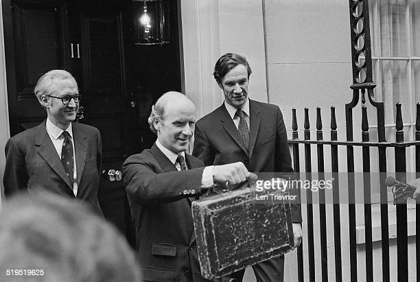Chancellor of the Exchequer Anthony Barber holds up his budget box as he leaves 11 Downing Street for the House of Commons where he will present his...