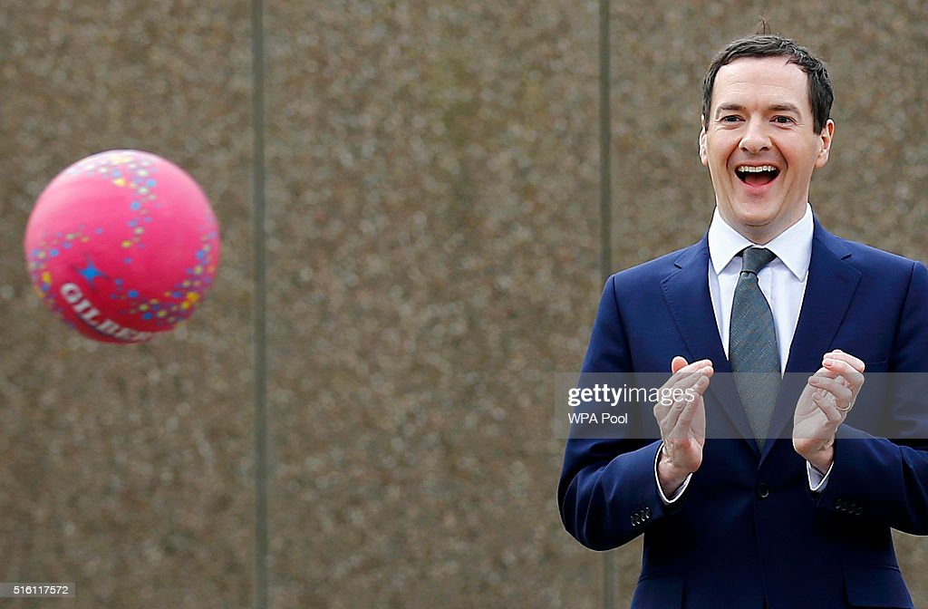 Chancellor of the Exchequer George Osborn watches a netball lesson at St Benedict's Catholic Primary School on March 17, 2016 in Garforth, United Kingdom. The Chancellor announced in his Budget speech yesterday that all schools in England will become academies by 2020.
