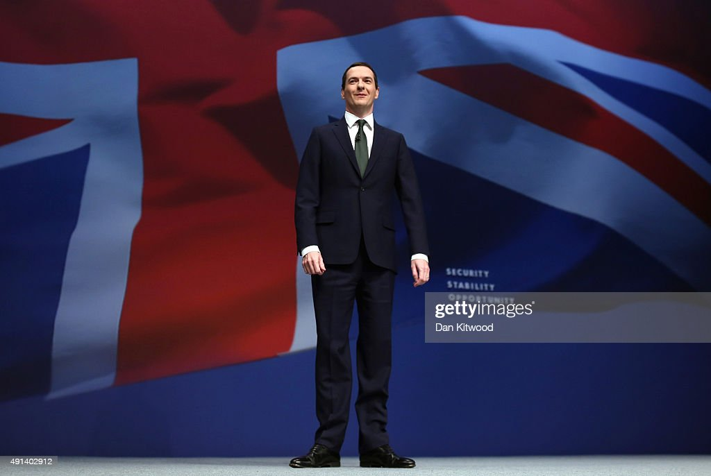 Chancellor of the Exchequer George Osborne addresses the Conservative party conference on October 5, 2015 in Manchester, England. The second day of the 2015 autumn conference is being dominated by the economy and the appointment of Labour peer Lord Adonis as head of the National Infrastructure Division (NIC) which will will advise the Government on road, rail, housing and energy projects.