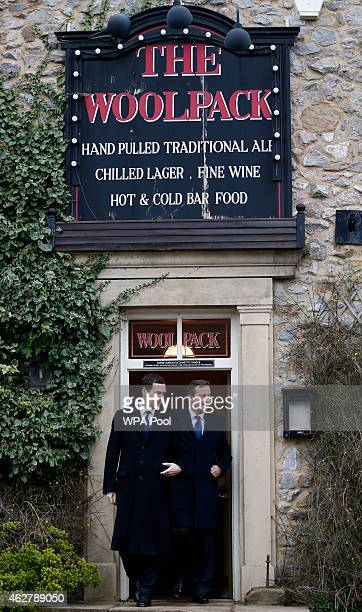 Chancellor Of The Exchequer George Osborne and Prime Minister David Cameron visit The Woolpack pub on the set of television series Emmerdale on the...