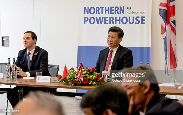 Chancellor of the Exchequer George Osborne and the President of the People's Republic of China Mr Xi Jinping tour the National Graphene Institute at...