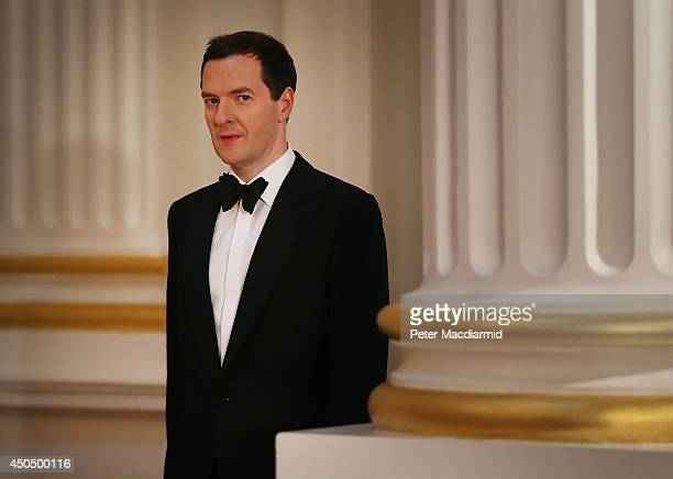 Chancellor of the Exchequer George Osborne arrives at the 'Lord Mayor's Dinner to the Bankers and Merchants of the City of London' at the Mansion...