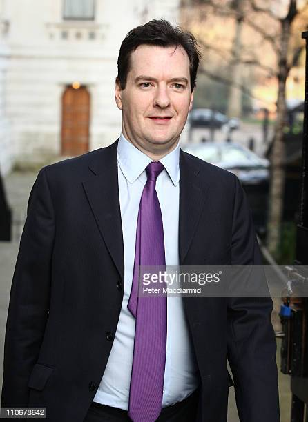 Chancellor of the Exchequer George Osborne arrives in Downing Street on March 23 2011 in London England The Chancellor is expected to implement...