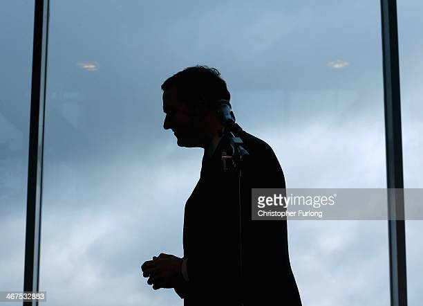 Chancellor of the Exchequer George Osborne delivers a speech after touring the construction site of the new fourth platform at Manchester Airport...