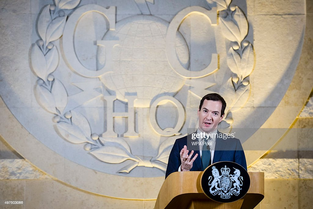 Chancellor of the Exchequer George Osborne delivers a speech on his spending review at GCHQ on November 17, 2015 in Cheltenham, England. Chancellor George Osborne has stated that Britain has developed an 'offensive cyber capability' to hit back directly at terrorists and states, as he warned Islamic State was seeking to launch potentially deadly attacks on UK targets.
