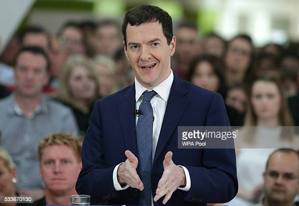 Chancellor of the Exchequer George Osborne delivers a speech on the potential economic impact to the UK on leaving the European Union at a BQ Store...