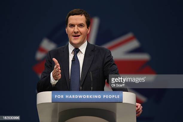 Chancellor of the Exchequer George Osborne delivers his speech in the main hall on the second day of the Conservative Party Conference on September...