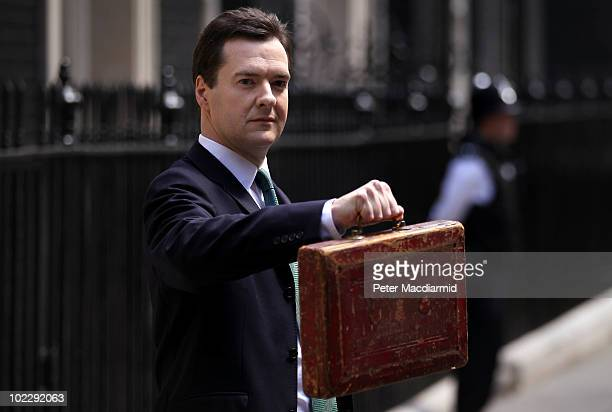 Chancellor of the Exchequer George Osborne holds Gladstone's original budget box as he leaves 11 Downing Street for Parliament on June 22 2010 in...