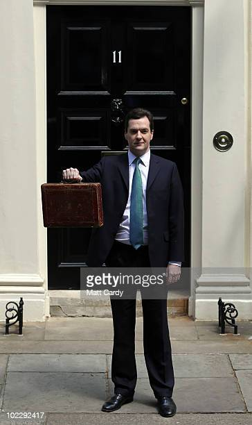 Chancellor of the Exchequer George Osborne holds Gladstone's original budget box as he leaves 11 Downing Street for Parliament on June 22, 2010 in...