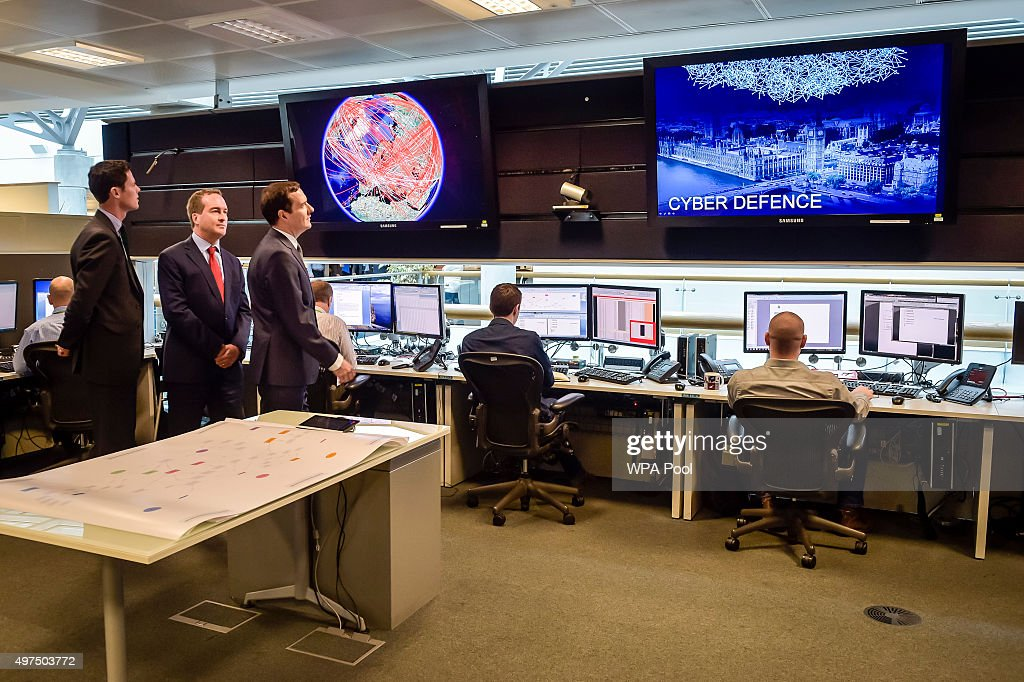 Chancellor of the Exchequer George Osborne is shown the 24 hour Operations Room inside GCHQ, Cheltenham by the Director of GCHQ Robert Hannigan (C) and Cheltenham MP Alex Chalk (L) on November 17, 2015 in Cheltenham, England. Chancellor George Osborne delivered a speech in which he stated that Britain has developed an 'offensive cyber capability' to hit back directly at terrorists and states, as he warned Islamic State was seeking to launch potentially deadly attacks on UK targets.