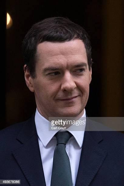 Chancellor of the Exchequer George Osborne leaves Downing Street on October 22 2015 in London England Mr Osborne is due to attend a Treasury Select...