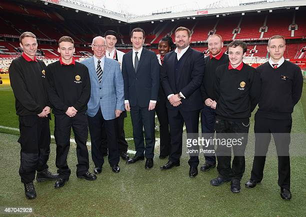 Chancellor of the Exchequer George Osborne meets Sir Bobby Charlton Group Managing Director Richard Arnold of Manchester United and members of the...