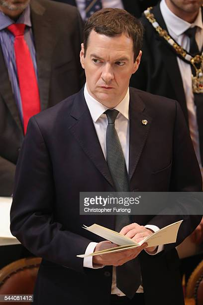Chancellor of the Exchequer George Osborne MP attends a commemoration service at Manchester Cathedral marking the 100th anniversary since the start...