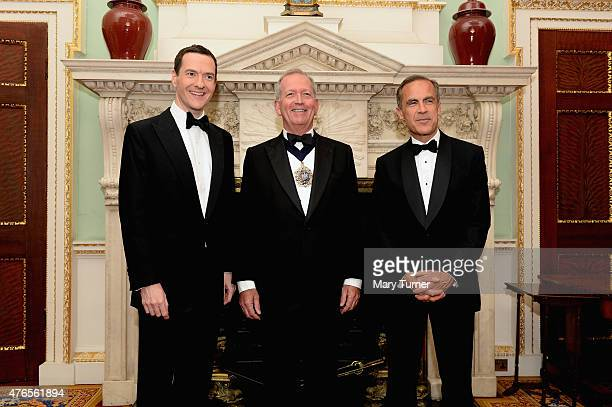 Chancellor of the Exchequer George Osborne the Lord Mayor of London Alan Yarrow and the Govenor of the Bank of England Mark Carney pose for a...