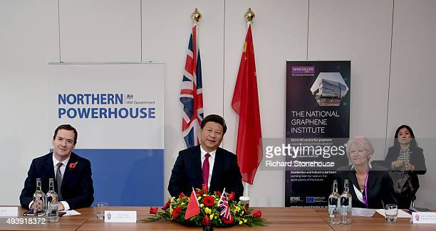 Chancellor of the Exchequer George Osborne the President of the People's Republic of China Mr Xi Jinping and and Prof Nancy Rothwell tour the...