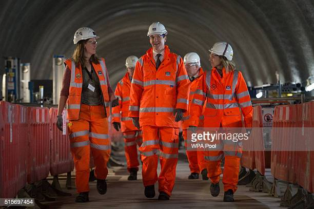 Chancellor of the Exchequer George Osborne visits the Crossrail station construction site at Tottenham Court Road in central London where he helped...