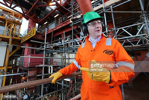 Chancellor of the Exchequer George Osborne visits the Montrose Platform in the North Sea where he later joined oil and gas industry representatives...