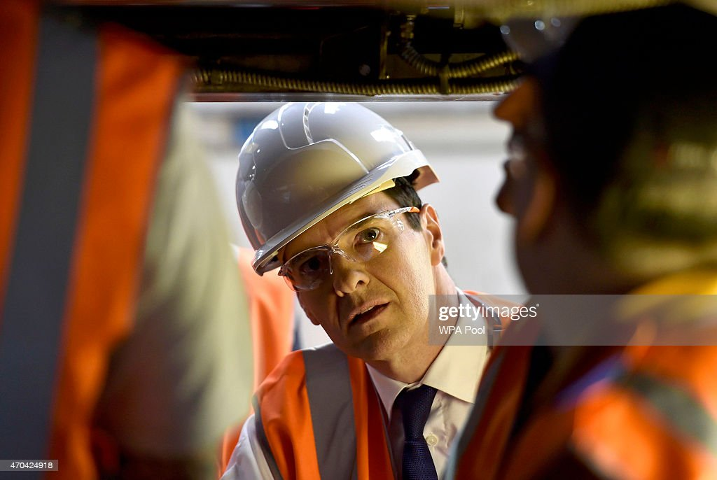Chancellor of the Exchequer George Osborne vists a train mantenance plant in Crewe during the fourth week of their election campaign, on April 20, 2015 in Crewe, England. Britain goes to the polls in a General Election on May 7.