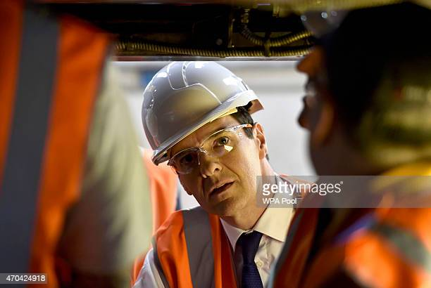 Chancellor of the Exchequer George Osborne vists a train mantenance plant in Crewe during the fourth week of their election campaign on April 20 2015...