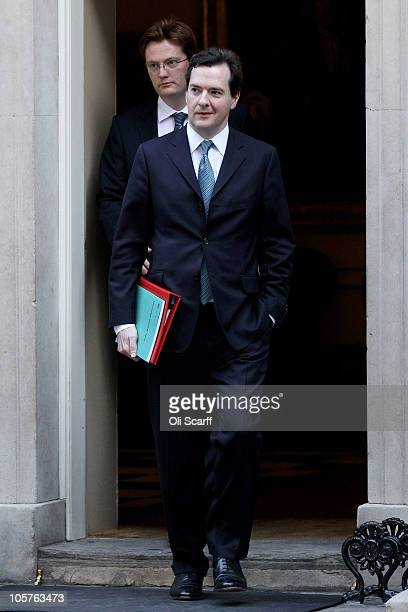 Chancellor of the Exchequer George Osborne walks from Number 10 Downing Street with Danny Alexander, Chief Secretary to the Treasury, after attending...