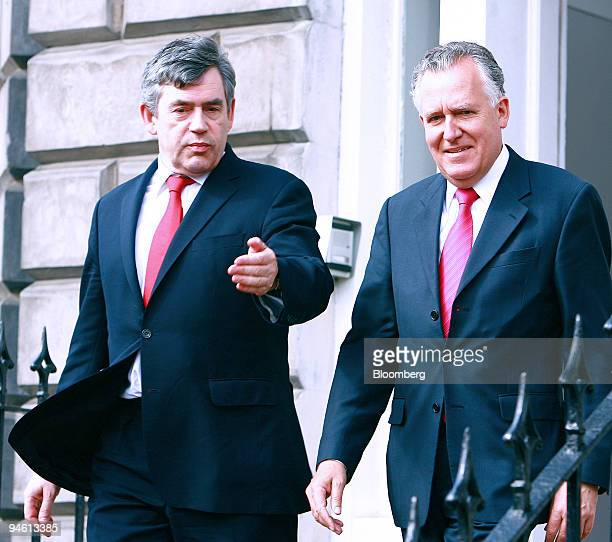 Chancellor of the Exchequer Gordon Brown left and Minister for Northern Ireland Peter Hain leave the Scottish Office after meetings with various...