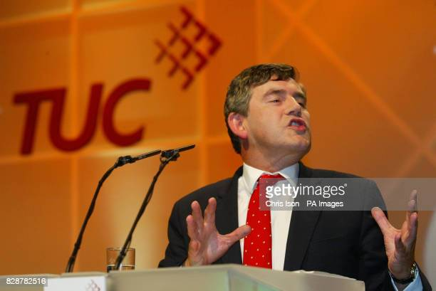 Chancellor of the Exchequer Gordon Brown speaks at the annual TUC conference in Brighton The Chancellor won loud applause from delegates when he...