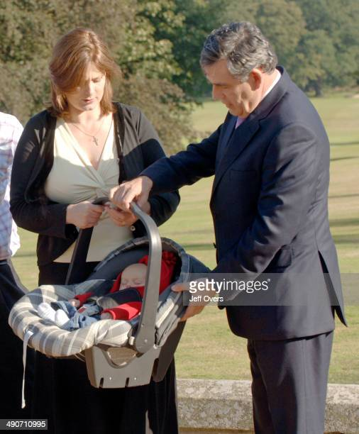 Chancellor of the Exchequer Gordon Brown with his wife Sarah and their twomonth old baby boy James Fraser Brown in Edinburgh