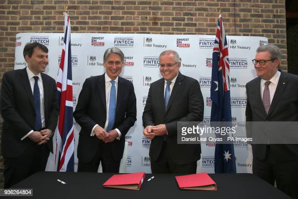 Chancellor of the Exchequer Philip Hammond and Australian Treasurer Scott Morrison after the signing the FinTech Bridge at the International Fintech...