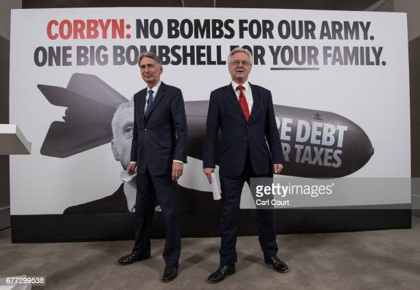 Chancellor of the Exchequer Philip Hammond and Secretary of State for Exiting the European Union David Davis arrive to speak at campaign event ahead...