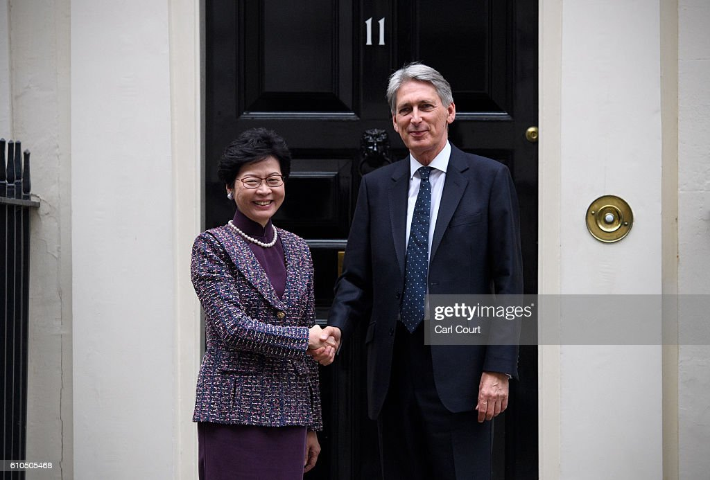 British Chancellor Greets The Chief Secretary For Administration Of Hong Kong SAR Government