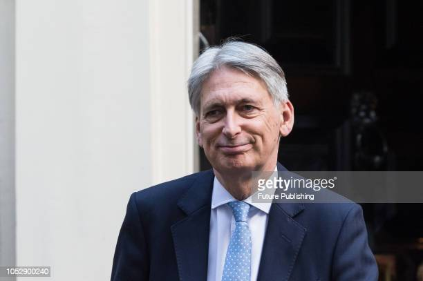 Chancellor of the Exchequer Philip Hammond leaves 11 Downing Street in central London for the weekly PMQ session in the House of Commons October 24...