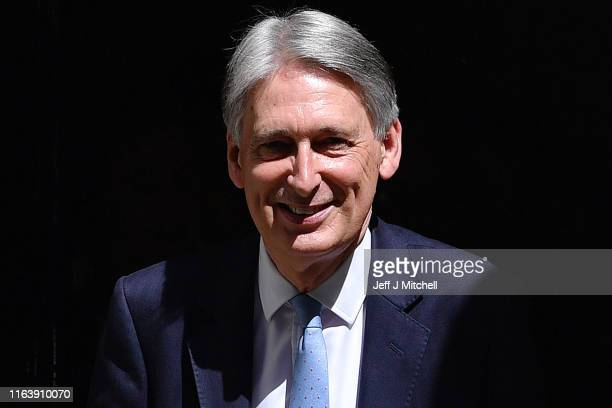 Chancellor of the Exchequer Philip Hammond leaves 11 Downing Street for Theresa May's final PMQ's on July 24 2019 in London England Theresa May has...