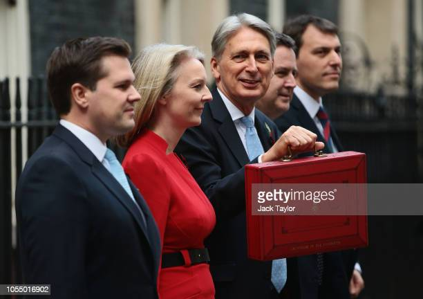 Chancellor of the Exchequer Philip Hammond presents the red Budget Box with ministers Exchequer Secretary to the Treasury Robert Jenrick Chief...