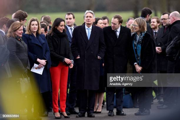 Chancellor of the Exchequer Philip Hammond waits for British Prime Minister Theresa May and French President Emmanuel Macron to arrive for talks on...
