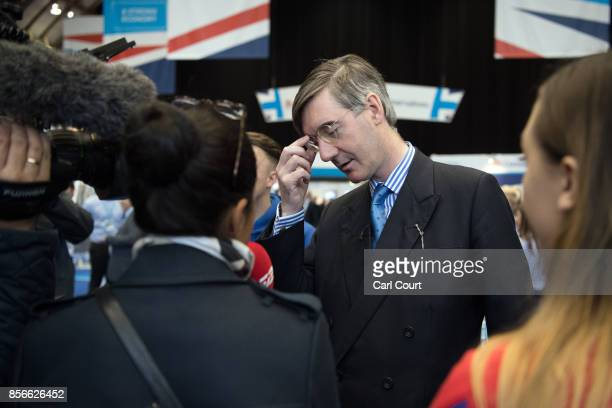 Jacob ReesMogg speaks to attendees and delegates on day two of the Conservative Party Conference at Manchester Central on October 2 2017 in...