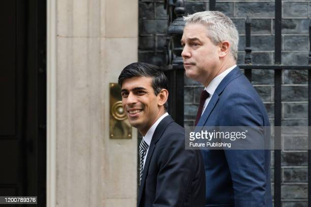 Chancellor of the Exchequer Rishi Sunak and Chief Secretary to the Treasury Stephen Barclay arrive in Downing Street in central London to attend a...