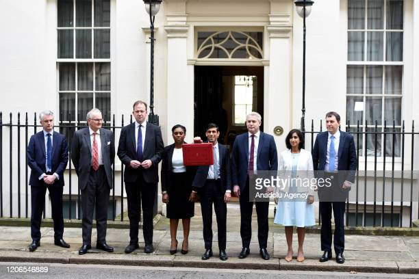Chancellor of the Exchequer Rishi Sunak and members of the cabinet pose outside no11 Downing Street before delivering the first postBrexit budget in...
