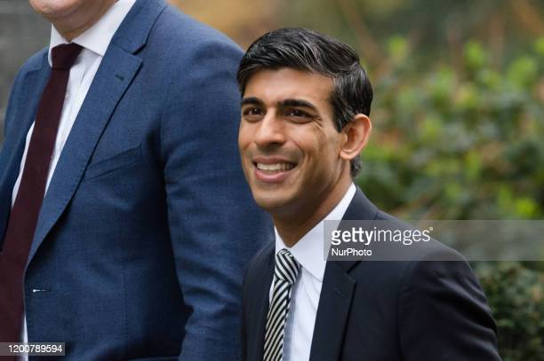 Chancellor of the Exchequer Rishi Sunak arrives in Downing Street in central London to attend a first cabinet meeting after reshuffle on 14 February...