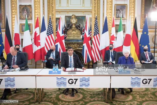 Chancellor of the Exchequer Rishi Sunak at a meeting of finance ministers from across the G7 nations at Lancaster House on June 4, 2021 in London,...