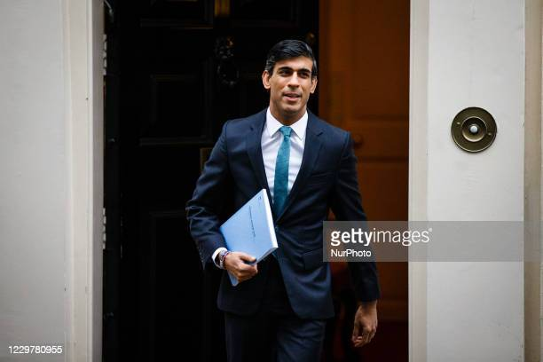 Chancellor of the Exchequer Rishi Sunak, Conservative Party MP for Richmond , leaves 11 Downing Street to announce the Treasury's one-year spending...