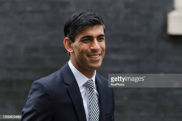 Chancellor of the Exchequer Rishi Sunak leaves 10 Downing Street in central London after attending a first Cabinet meeting after reshuffle on 14...