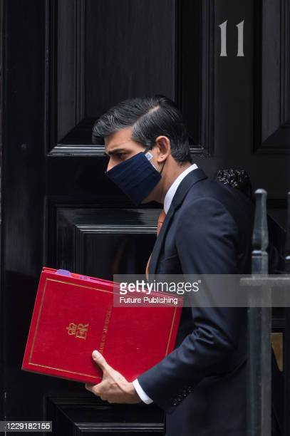 Chancellor of the Exchequer Rishi Sunak leaves 11 Downing Street in central London on 20 October 2020 in London England PHOTOGRAPH BY Wiktor...