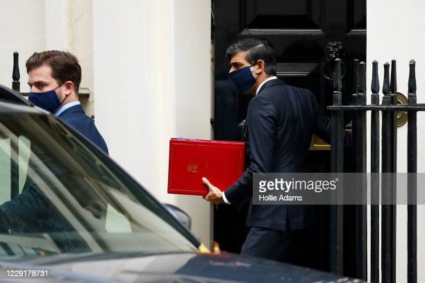 Chancellor Of The Exchequer Rishi Sunak leaves 11 Downing Street on October 20 2020 in London England Boris Johnson could impose stringent new...